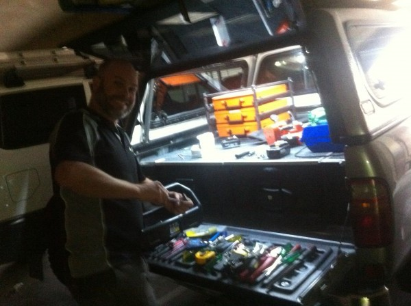 Locksmith checking the tools in the truck
